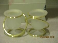 New! Partylite P7207 Silver Plate Gemini Linked Candle Holders(Gold Color)
