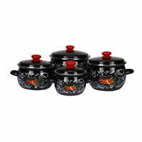 8pcs Set de Casseroles en Acier Inoxydable Émaillé Cuisine Marmites Noir&Piment