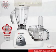 5 In 1 White BNIB Electric Multi Food Processor Smoothie Blender Grinder 500W