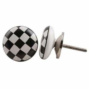 Round Black and White Chequerboard Chess Board Cupboard Door Knob