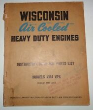 Wisconsin VM4 VP4 Engine Instruction Service Parts Catalog Manual Book Original!