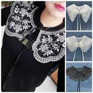 Womens Detachable White Black Lace Collar Bib False Lapel Shirt Collar Shawl UK