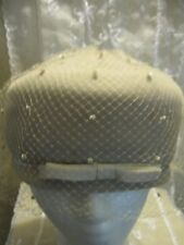 Vintage Hat 1960's Twiggy Beige Ultra suede Bows & Netting Union Made Mod Cool