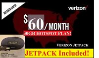 Verizon HOTSPOT Unlimited 30GB 4G LTE DATA Plan $60 PLAN with Jetpack Hotspot