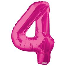 """Large Jumbo Pink Metallic Number 4 Foil Helium Balloon 34""""/87cm (Not Inflated)"""