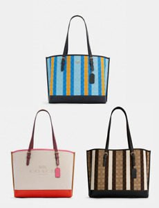 NWT Coach Mollie Tote In Colorblock/Signature Jacquard With Stripes