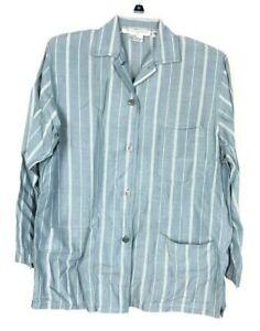 Calvin Klein Sport women Button Down Stripe Pajama Sleep Shirt Petite P Blue BE