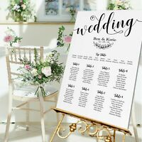 Personalised Wedding TABLE PLAN/WELCOME SIGN-WHITE/BLACK CONTEMPORARY