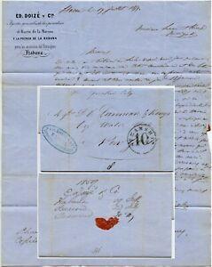 1861 STEAMSHIP QUAKER CITY LETTER DOIZE Co HAVANA