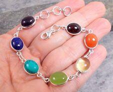 925 Silver CHAKRA Rainbow Multi-Gem Amethyst Garnet Bracelet B603~Silverwave*uk