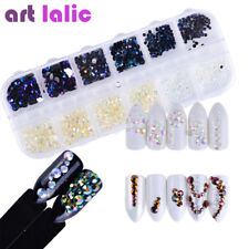 Nail Art Holographic Black White Jelly Rhinestones 3D Nail Art Decoration Case