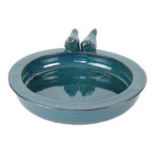 Fallen Fruits Round Ceramic Bird Bath - Petrol Blue