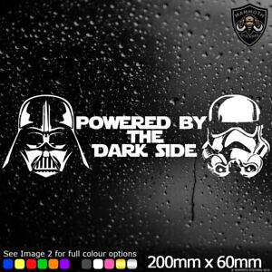 Powered by Dark Side Car Sticker Window Decal Star Wars Darth Vader Stormtrooper