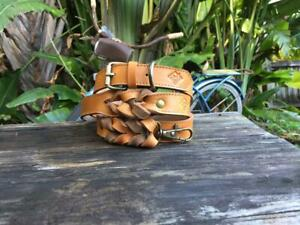 Luxury Authentic Handmade 100% Leather Dog Collar and Leash