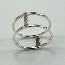925 Sterling Silver Midi Ring Double Cubic Zirconia Knuckle Stacking + Gift Bag