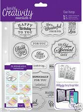 Docrafts Papermania trad sentimento Compleanno Ringraziamento A5 Stamp set + Storage Pocket