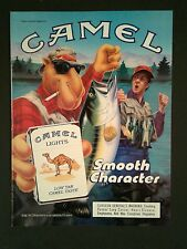 1990 Joe Camel Cigarettes Lights Fish Fishing Vintage Smooth Character Trade AD