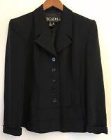 ESCADA Margaretha Ley Blazer Jacket Pure New Wool Silk Black Sz 38 US 8