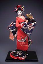 Dancing Beautiful Gofun Geisha Doll Wearing Silk  Kimono w/Embroidery