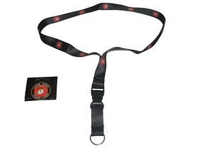 "32"" Black USMC Marine Corp Crest Emblem Printed Lanyard With Detachable Key Ring"
