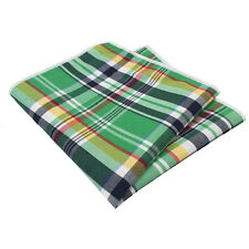 Green, Navy Blue, Yellow and Red Plaid Pocket Square