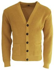 Men's Yellow Waffle Knit Football Button Front Mod Retro Relco Mustard Cardigan