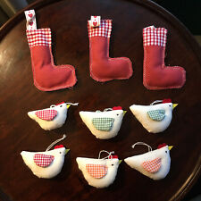 Set Of 9 Fabric, Folk-Style Decorations - 6 x Chickens, 3 x Stockings