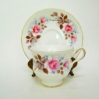 Queen Anne Footed Teacup and Saucer Pink Roses Gold Trim Vintage 8521 England