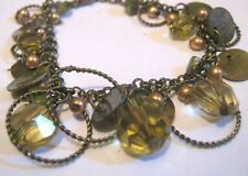 Pretty bronze tone metal chain bracelet shell & beads dangles approx 7-9 ins