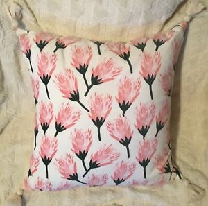 "Opalhouse Velvet Pillow Cactus Flower Floral Decorative 24"" PINK OFF WHITE(HAVE2"