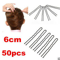 50pcs Hair Waved U-shaped Bobby Pin Hairpins Barrette Salon Grip Clip Black 6CM