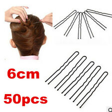 50pcs Black Hair Waved U-shaped Bobby Pin Barrette Salon Grip Clip Hairpins 6CM