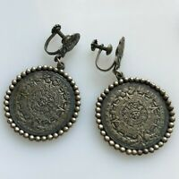 Vintage Taxco Mexico 925 Sterling Silver Aztec Sun God Earrings