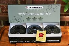 Le Creuset RARE 8oz Mini Round Cocotte Set of 3 gift BLACK NICKEL NEW IN BOX