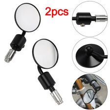 2x BLACK ROUND UNIVERSAL MOTORCYCLE BAR END MIRRORS BIKE/MOTORBIKE 22MM