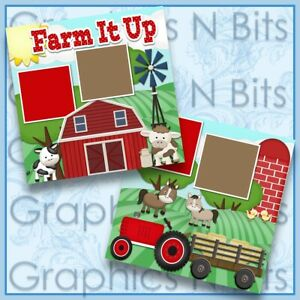 "FARM IT UP 12""x12"" Printed Premade Scrapbook Pages"