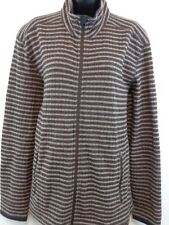 PrAna Women Zip Front Cardigan Sweater Large Wool Blend Brown/Tan