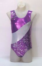Leotards Dance Gymnastics, Purple, Silver Foil, Hologram Pattern Spandex, New