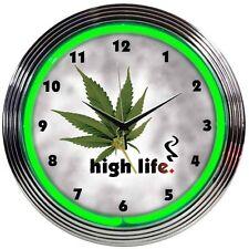 "High Life Leaf Pot Neon Clock 15""x15"""