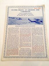 FLYING BOATS AT CROMER & YARMOUTH BROCHURE 1926 NORFOLK SUPERMARINE SOUTHAMPTONS