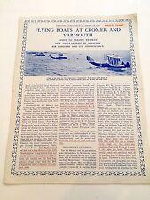 FLYING BOATS AT CROMER & YARMOUTH BROCHURE 1926 NORFOLK SUPERMARINE SOUTHAMPTONS