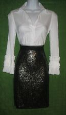 Gianni Bini Champagne Gold Chiffon Tiers Sequin Social Party Dress S 4/6 $88