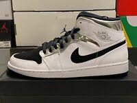 Nike Air Jordan 1 Mid Alternate THINK 16 White/Silver/Black 554724-121  *SIZE 13