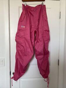 UFO Small Parachute Rave Cargo Pants Fuchsia Pink Bright Colorful New