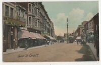 Queen Street Cardiff Vintage Postcard Glamorgan South Wales 750b