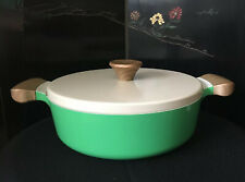 Vremi Ceramic Nonstick Lidded Casserole In Green Induction/ Gas Stovetop