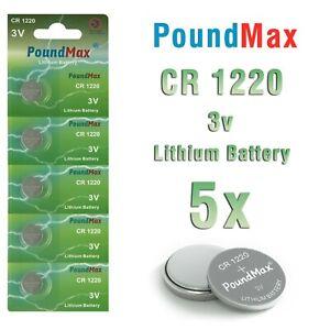 5 X Super CR1220 3 VOLT  PoundMax LITHIUM BUTTON CELL BATTERIES