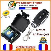 Kit Récepteur + Emetteur Radio Sans Fil Télécommande 12V Portail Garage 1Ch