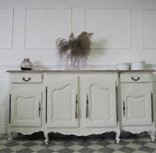 Large French Antique Walnut Sideboard In Cream