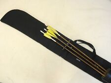 """Traditional Archery CASE for UNSTRUNG RECURVE BOW  w/ bolt-on quiver  Black  66"""""""